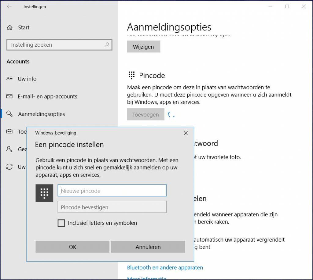 Windows veilig op laptop aanmelden pincode