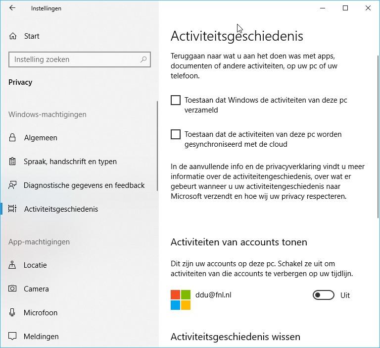 Windows 10 activiteitsgeschiedenis