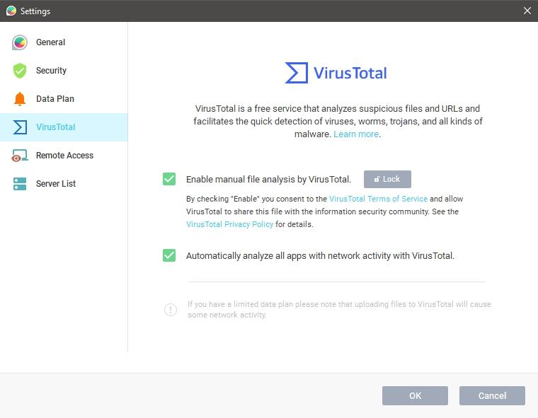Dataverkeer monitoren GlassWire virusscan VirusTotal