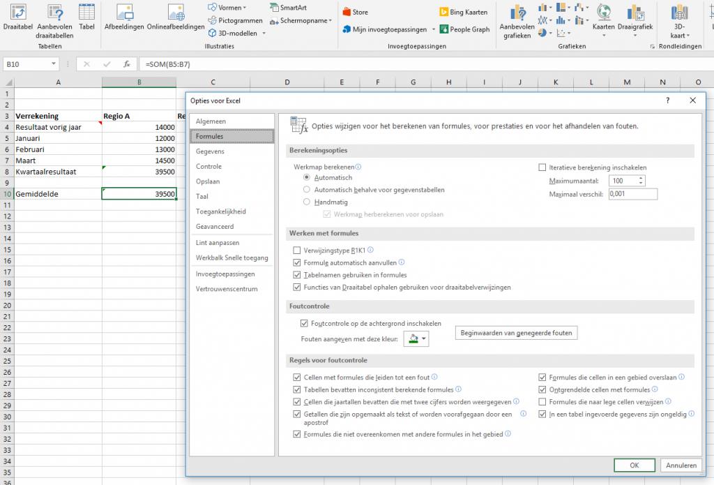 Excel werkbladen automatische functie uitzetten
