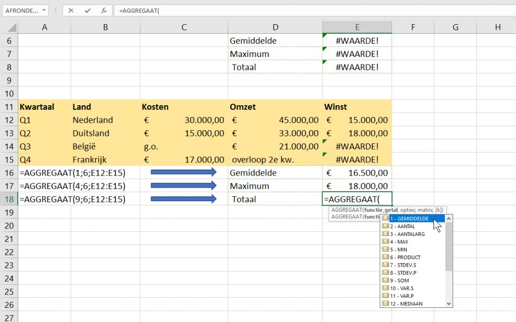 Excel werkbladen formule foutmelding AGGREGAAT