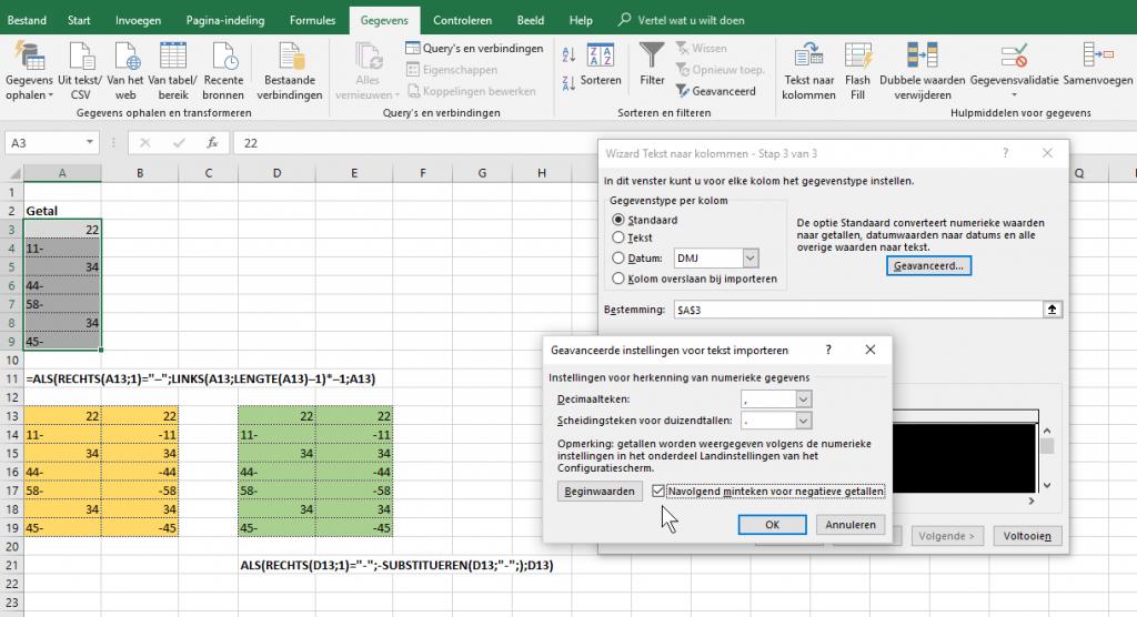 Excel werkbladen minteken voor achter omkeren SAP