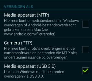 Handmatig MTP-drivers installeren voor je Android-toestel verbindingsmethode kiezen