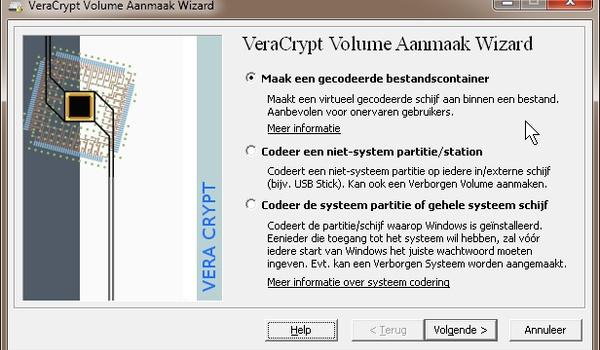 Versleutelen van een externe harde schijf VeraCrypt