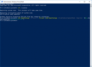 startmenu werkt niet meer in Windows 10 oplossing Powershell
