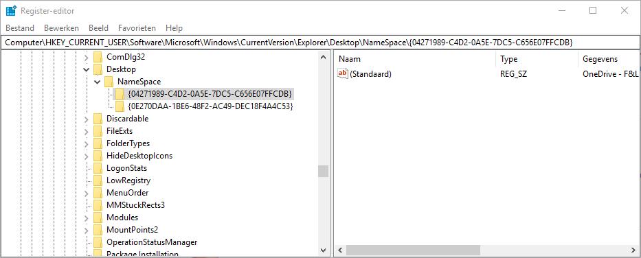 Windows 10 OneDrive verwijderen Verkenner map koppeling