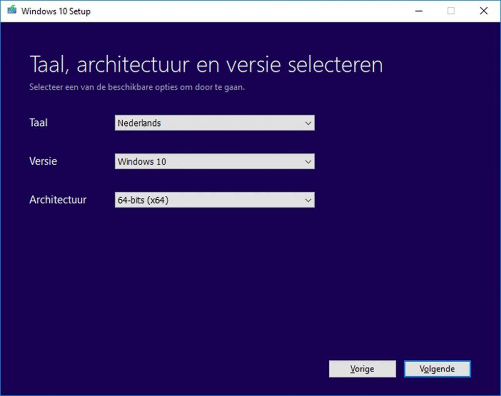 Windows 10 vanaf usb-stick installeren Media Creation Tool MCT