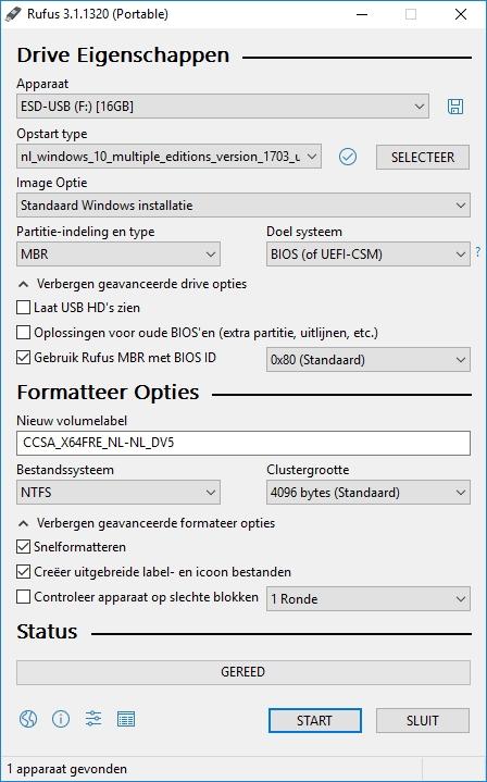 Windows 10 vanaf usb-stick installeren Rufus UEFI