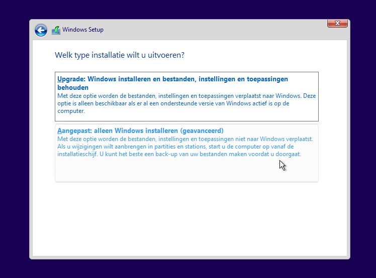 Windows 7 naar Windows 10 upgrade update aangepaste installatie