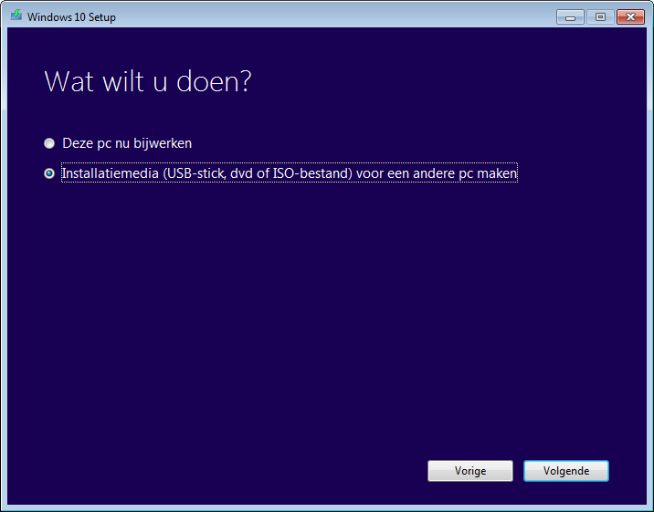 Windows 7 naar Windows 10 voorbereiding installatie dvd usb stick maken