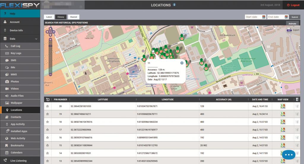 smartphone spionage apps FlexiSpy locatiegeschiedenis locatie traceren volgen
