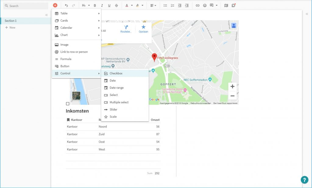 Office software voor teams Coda Google Maps formule externe data