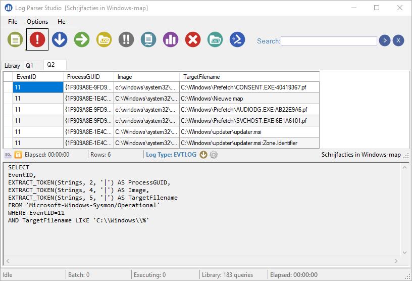 Sysmon gebruiken loggen analyseren Microsoft Log Parser Studio SQL
