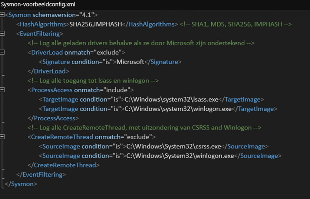 Sysmon gebruiken loggen analyseren XML configuratie bestand