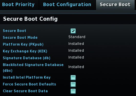 UEFI BIOS instellen Secure Boot Config Platform Key