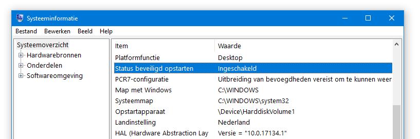 UEFI BIOS instellen bootmodus controleren Systeeminformatie