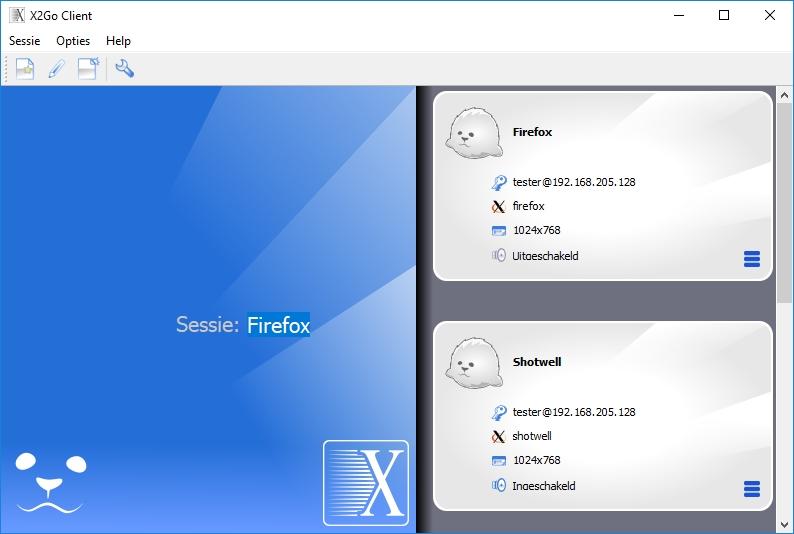 X2Go sessie sessietegel remote gebruik grafische Linux-toepassing