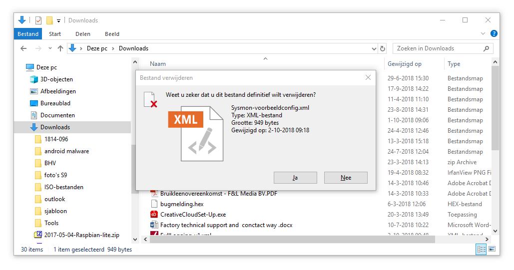 gegevens verwijderen Windows Verkenner prullenbak