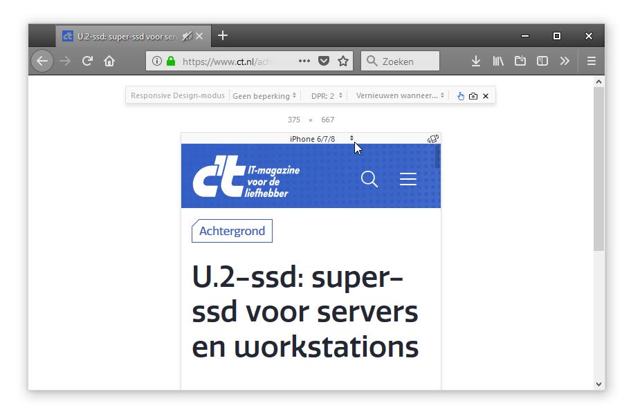 ontwikkelaarstools Chrome Firefox browser mobiel apparaat weergave