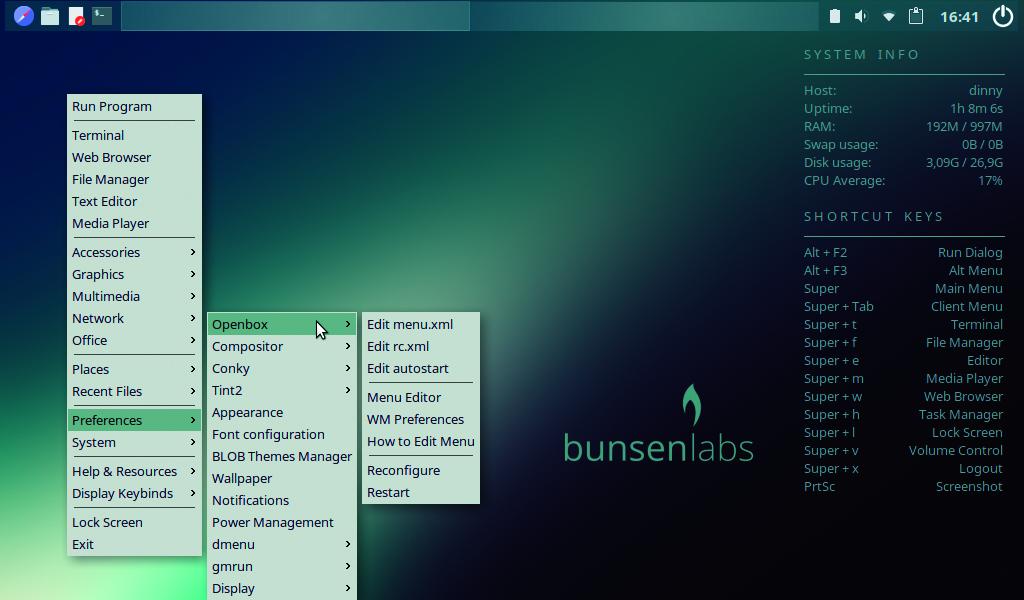 oude pc hergebruiken met Linux BunsenLabs Debian Openbox interface