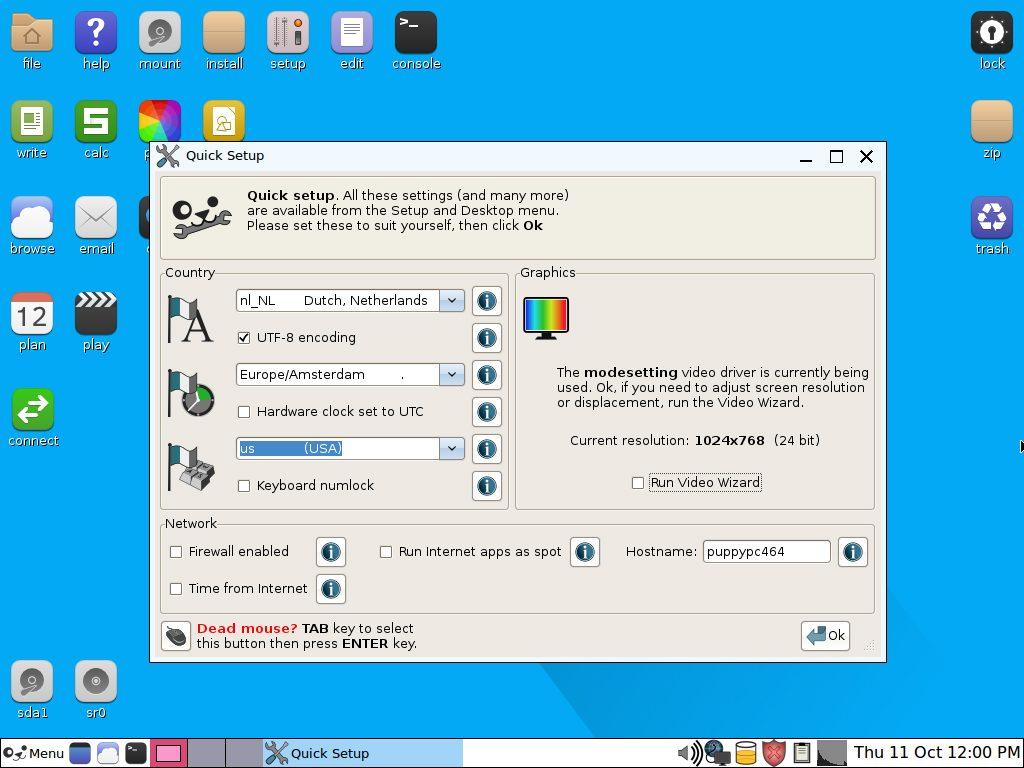 oude pc hergebruiken met Linux Xenialpup taal toetsenbord QuickSetup