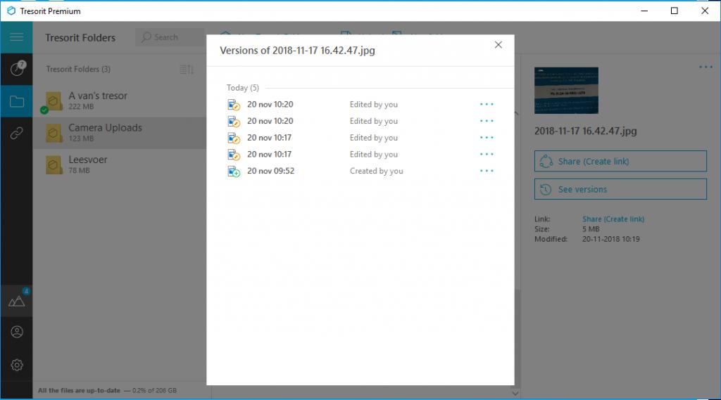 Dropbox versus vergeleken andere cloud storage versie historie Tresorit