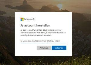 Microsoft account herstel