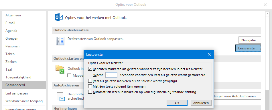 mails niet meer automatisch markeren als gelezen Outlook