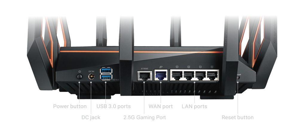 Asus ROG Rapture GT-AX11000 LAN WAN poorten USB 2.5G