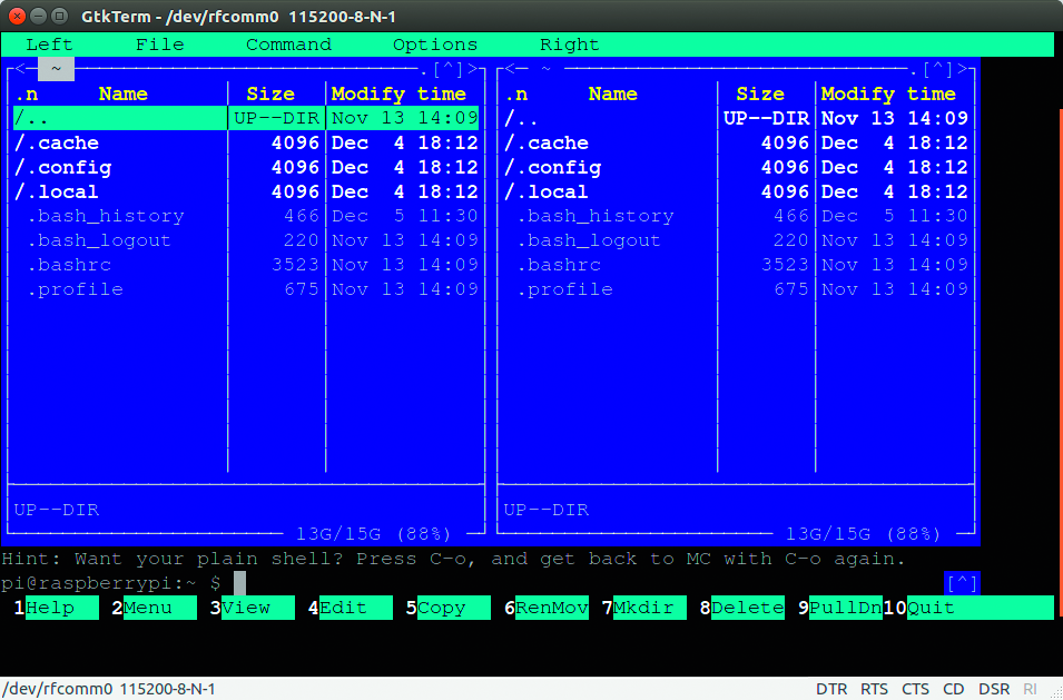 Bluetooth achterdeur in Raspberry Pi shell gtkterm bluetooth-shell