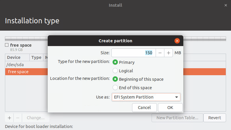 Linux op UEFI-pc installeren partitioneren ESP EFI System Partition