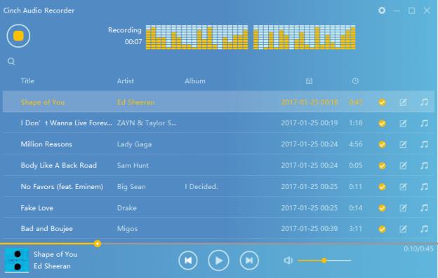 Spotify opslaan nummers bewaren audio cd branden Cinch audio recorder