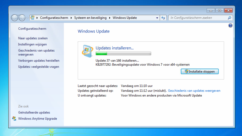 Windows 7 support updates