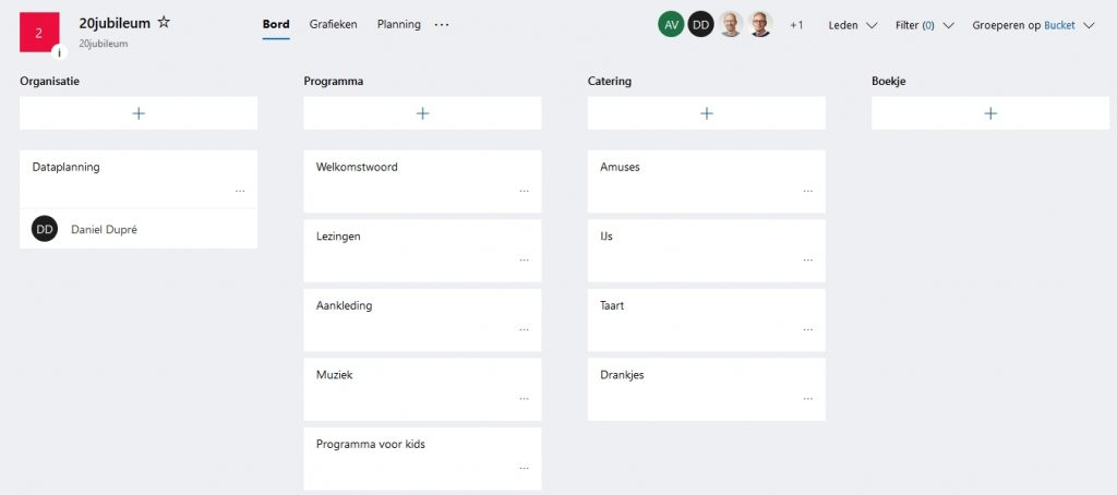 Outlook Microsoft Planner bord met buckets en taken project team teamverband