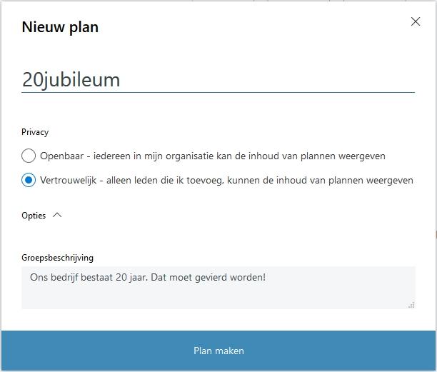 Outlook Microsoft Planner nieuw plan maken project team teamverband