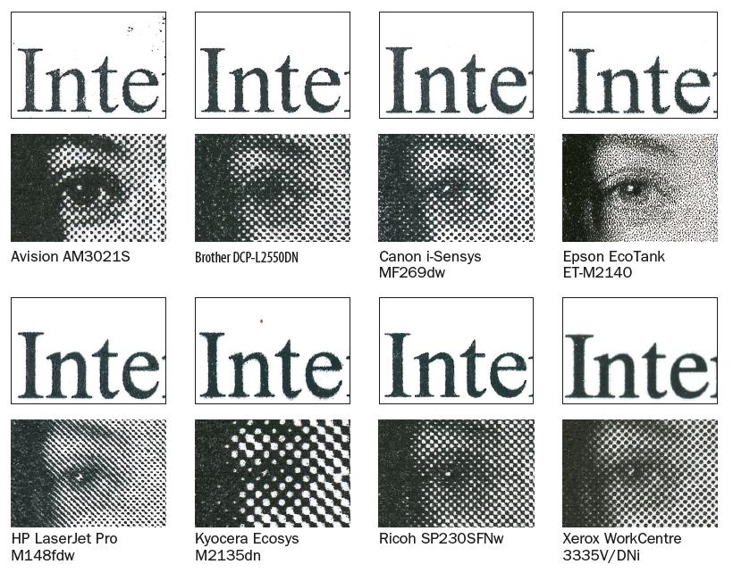 zwart-wit printer laser inktjet kwaliteit raster foto