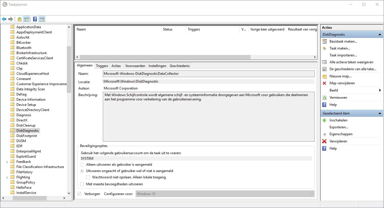 Windows Taakplanner overzicht taak aanpassen