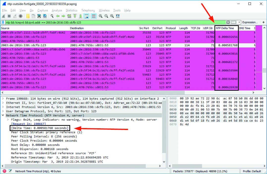 NTP-server NTP server belasting Delta Time NTP-request Wireshark