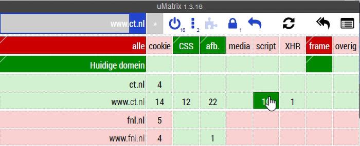 Firefox veilig maken uMatrix bedienen bediening knop blokkeren laden