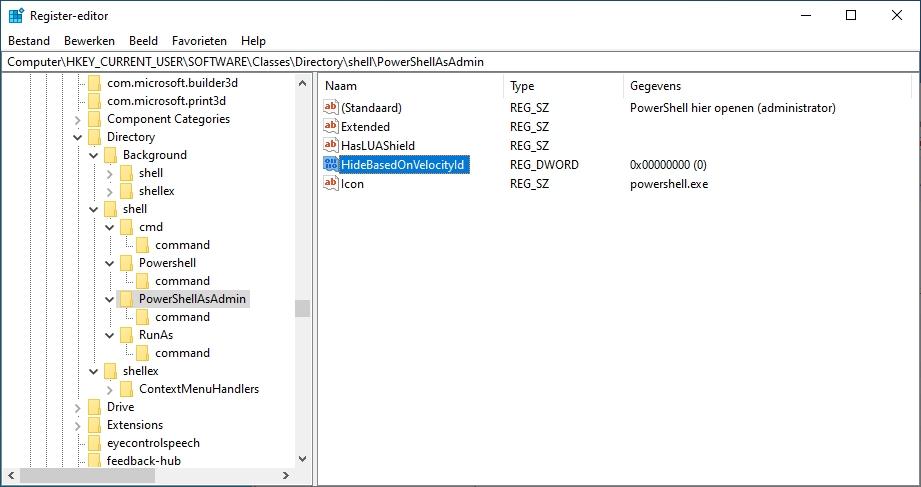 PowerShell en Opdrachtprompt snel starten snelmenu register aanpassing