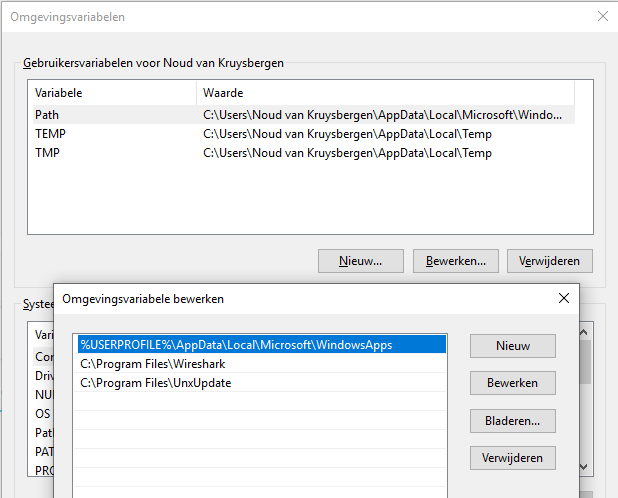 Tshark netwerk analyseren Wireshark Windows UnxUtils pad omgevingsvariabele