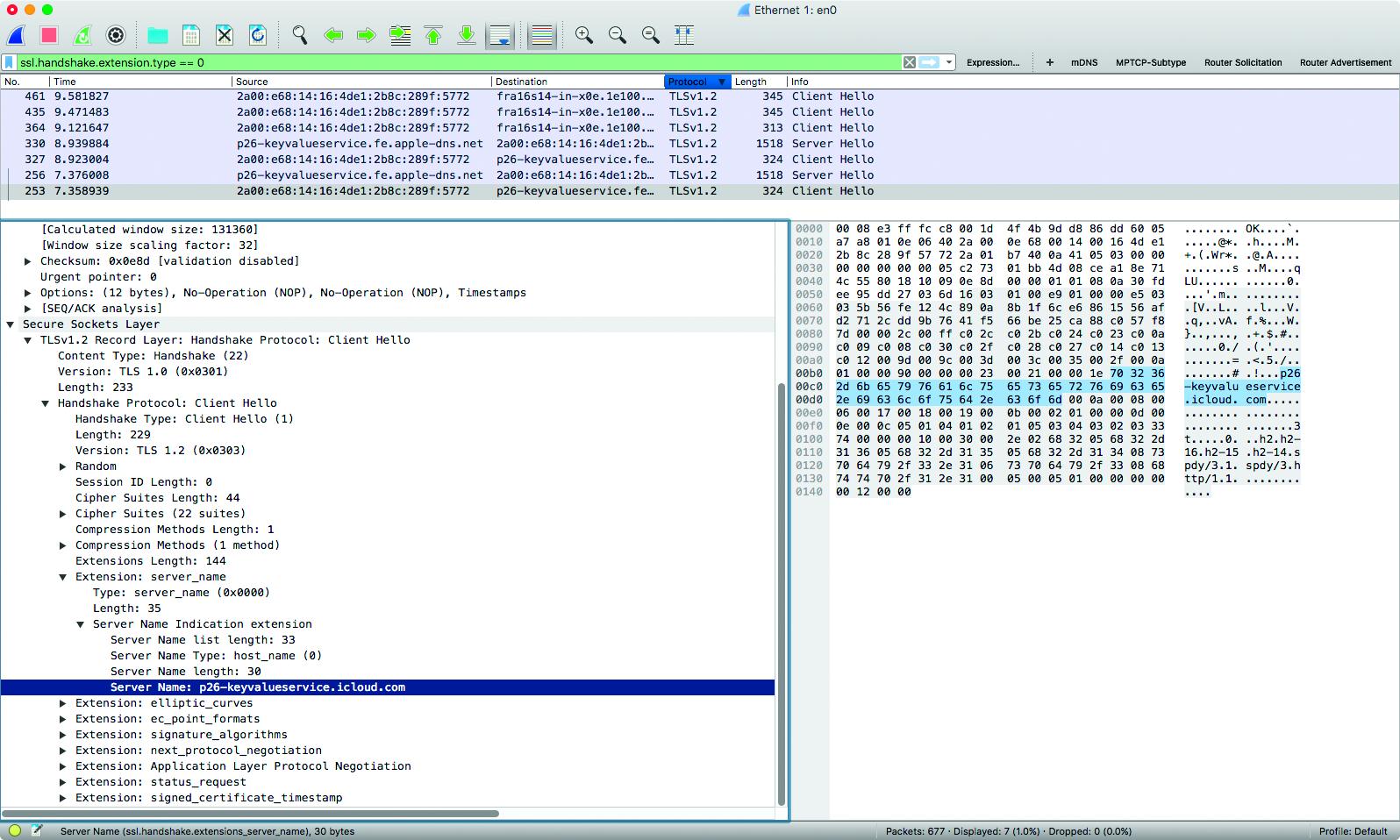 Tshark netwerk analyseren Wireshark https versleuteld metadata SNI Server Name Indication