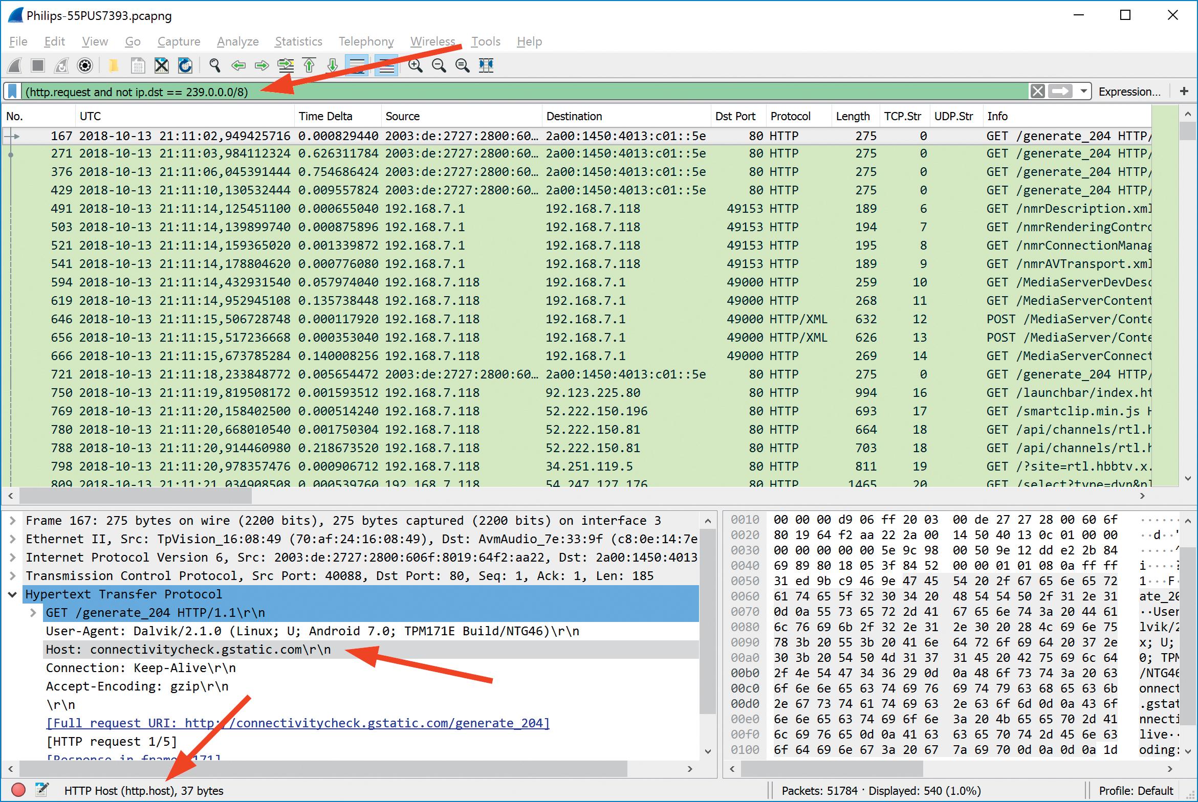 Tshark netwerk analyseren Wireshark syntaxis smart tv displayfilter multicast negeren