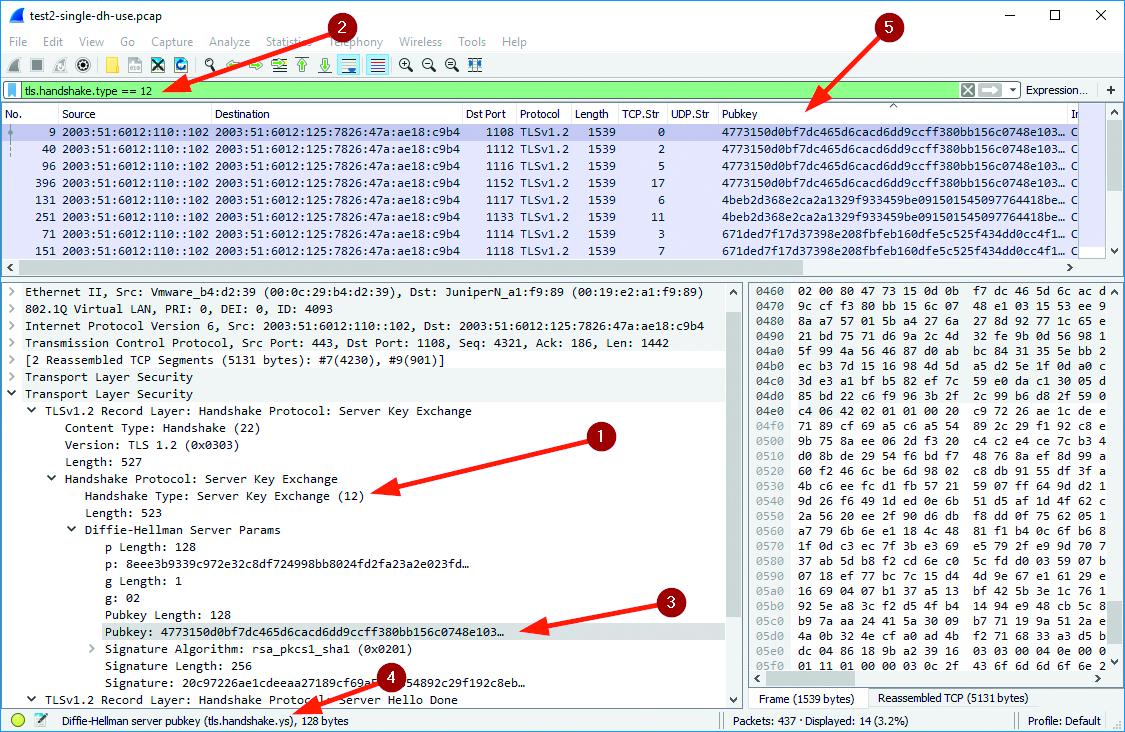Tshark netwerk pakketten analyseren Wireshark openbare sleutel Diffie Hellman Logjam F5 load balancer