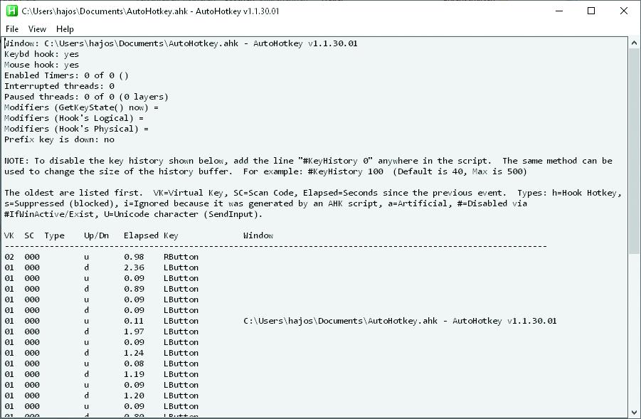 Windows automatiseren AutoHotkey fout opsporen history logboek