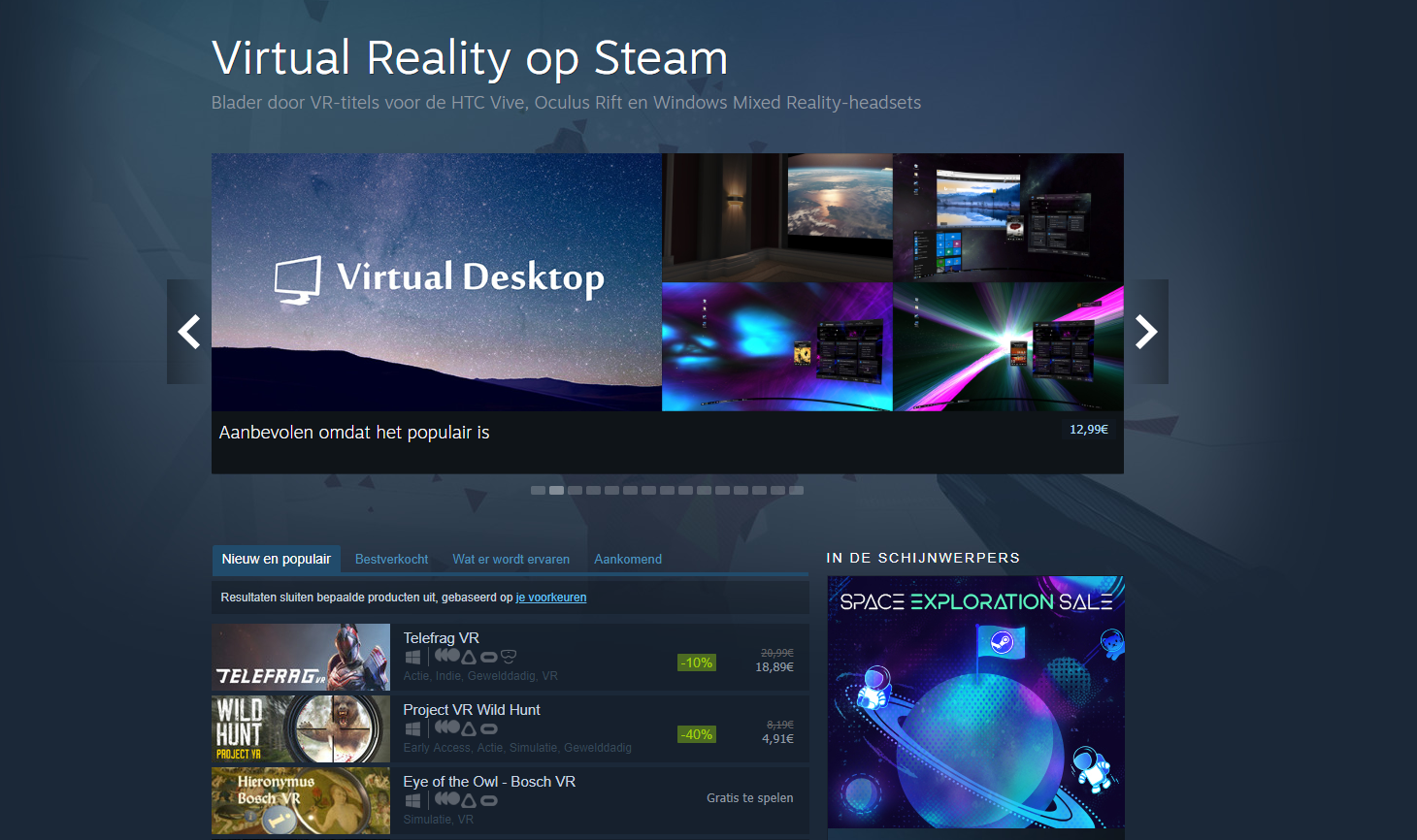 Virtual reality headset VR-bril software Steam VR