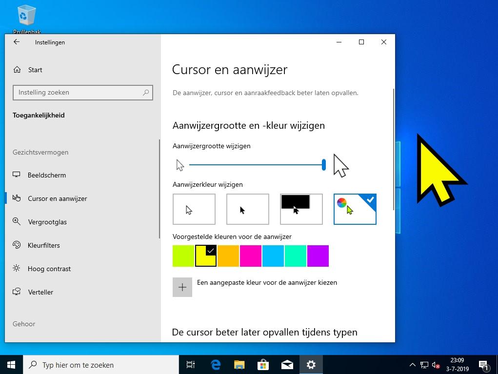 Windows 10 makkelijker bedienen vergrootglas cursor aanwijzer inzoomen vergroten muispijl