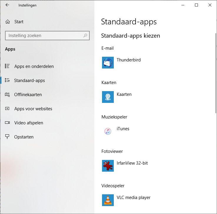 Windows standaard apps instellen