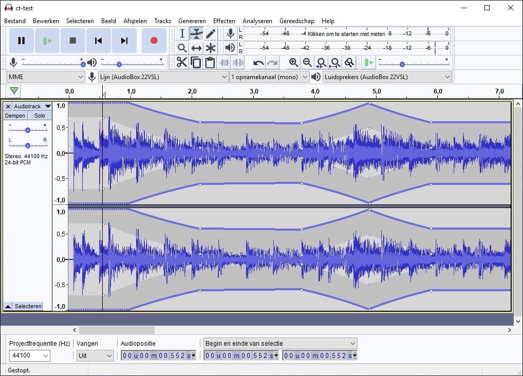 geluidsopname maken Audacity Verloop tool volumeverloop volume aanpassen