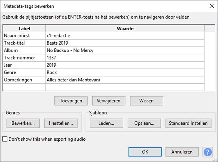 geluidsopname maken Audacity export uitvoer MP3 metadata tag